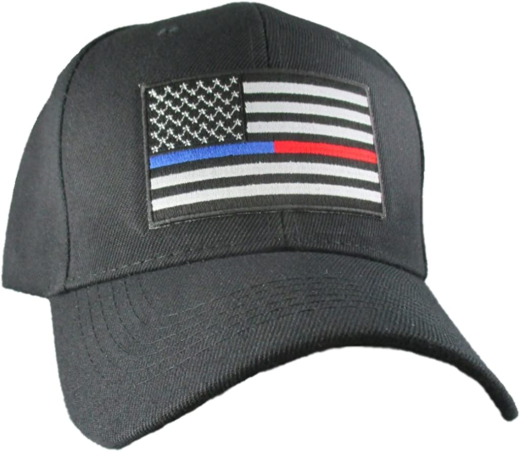 POLICE THIN BLUE LINE BLACK EMBROIDERED MILITARY HAT CAP
