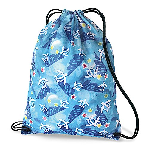 Hawaiian Style Drawstring Backpack Honu Turtle Floral