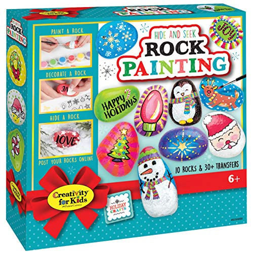 Creativity for Kids Holiday Hide & Seek Rock Painting Kit, Paint & Hide 10 Rocks, Holiday Crafts For Kids
