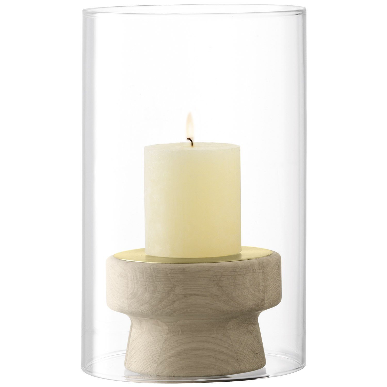 LSA International Mistral Oak Candleholder and Glass Shade H25.5cm, Clear, H:25.5cm G1476-25-301