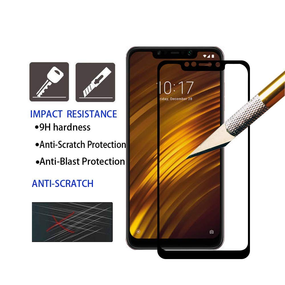 Pacebid Xiaomi Pocophone F1 Screen Protector Full Coverage Tempered Glass Bening Poco Phone With 9h Hardness Case Friendly Bubble Free Anti Scratch For
