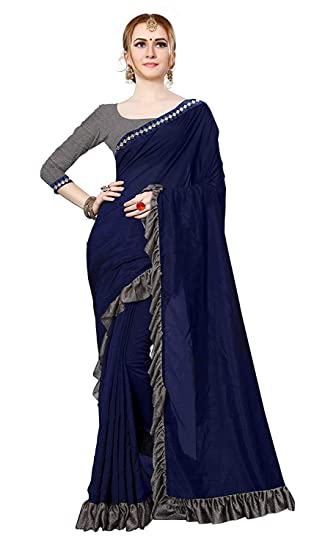 13d1978906780b Purvi Women s Imported Fabric Designer Frill Ruffle Saree  Amazon.in   Clothing   Accessories