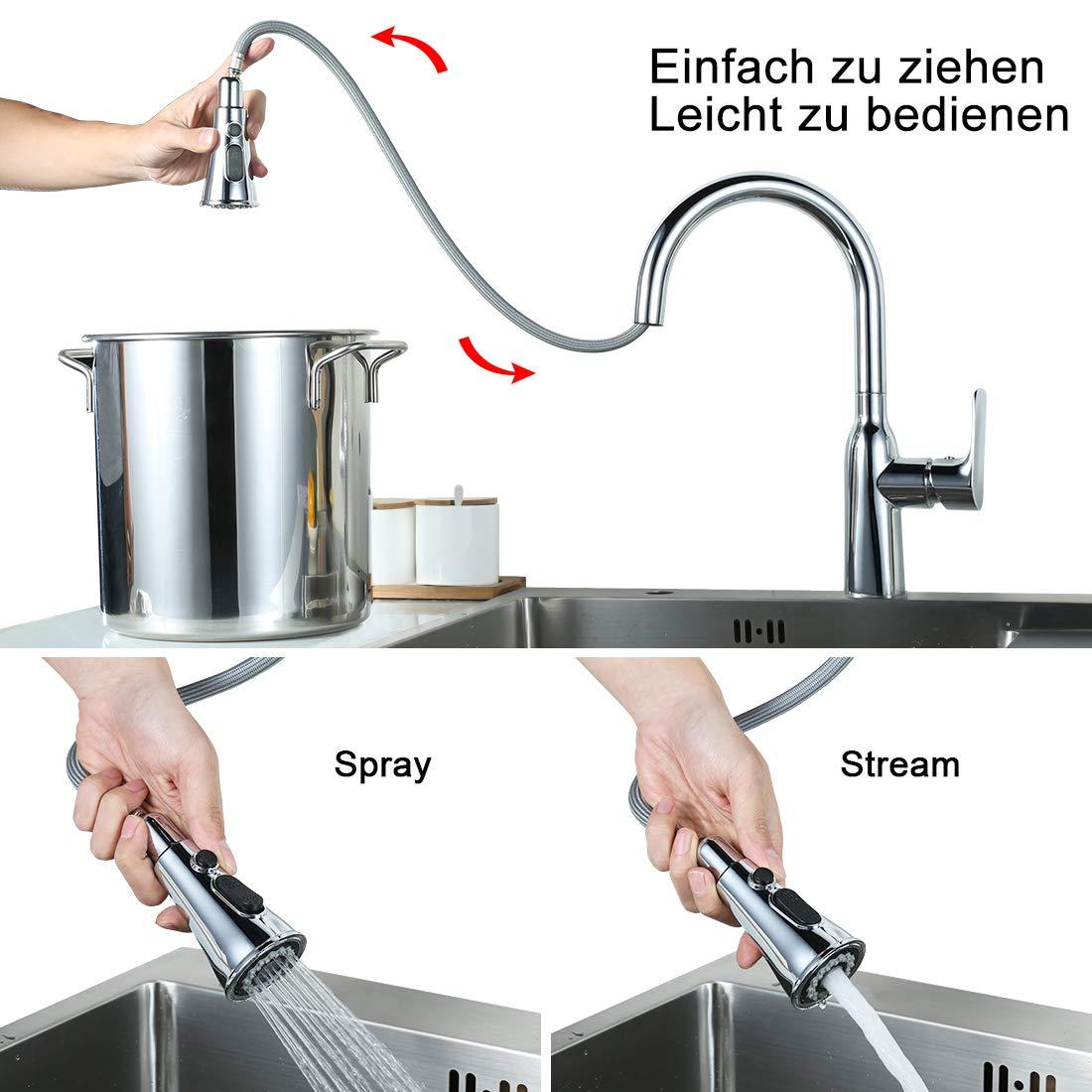 Wasserhahn K/üche Ausziehbar K/üchenarmatur mit Brause Armatur K/üche 360/° drehbar Einhebelarmatur Sp/ültischarmatur Rostfreier Edelstahl Mischbatterie