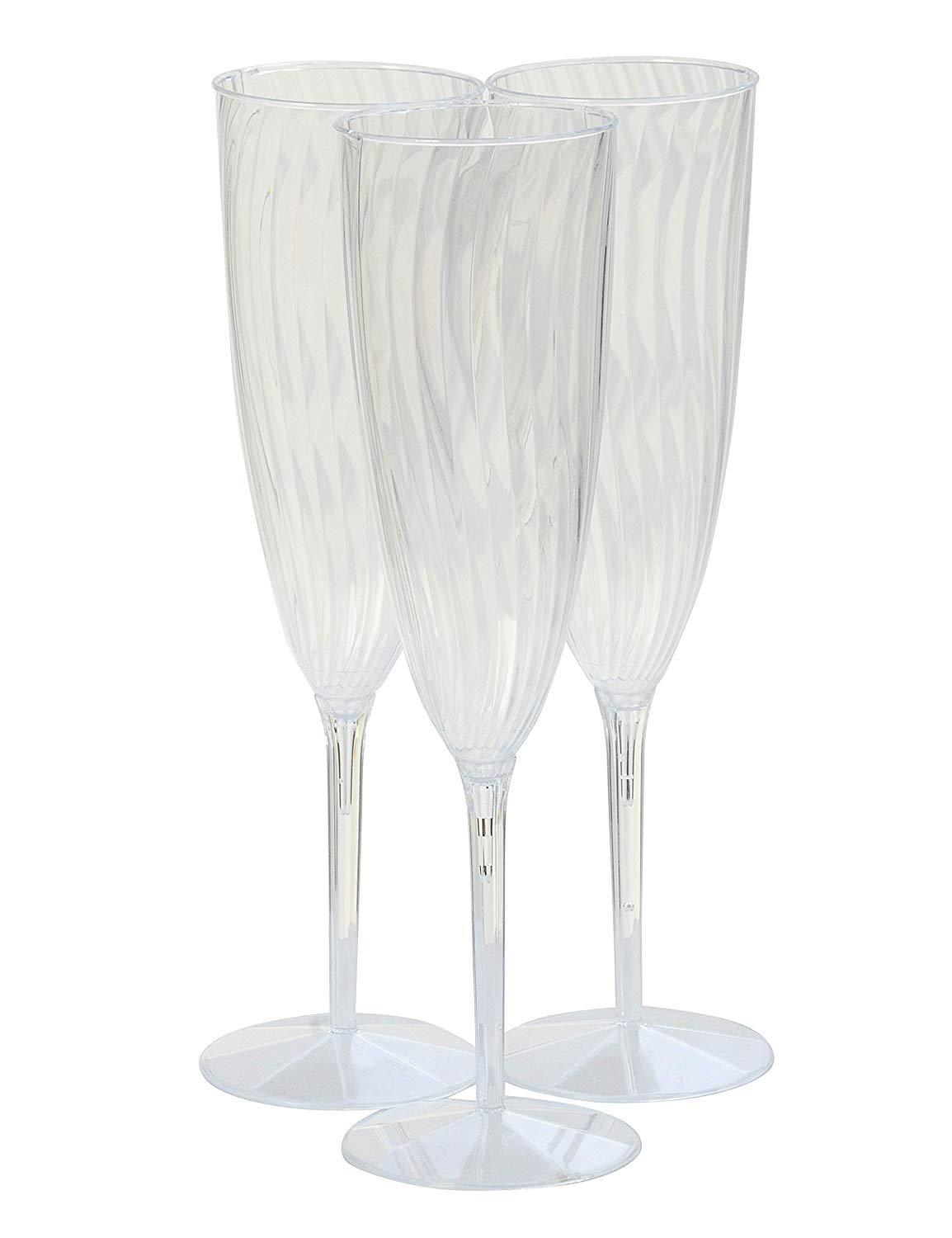 30 Piece Plastic Champagne Glasses, Disposable Wine/Cocktail/Mimosa Flutes, Unbreakable - Glasses For New Years, Weddings, Parties, Supplies