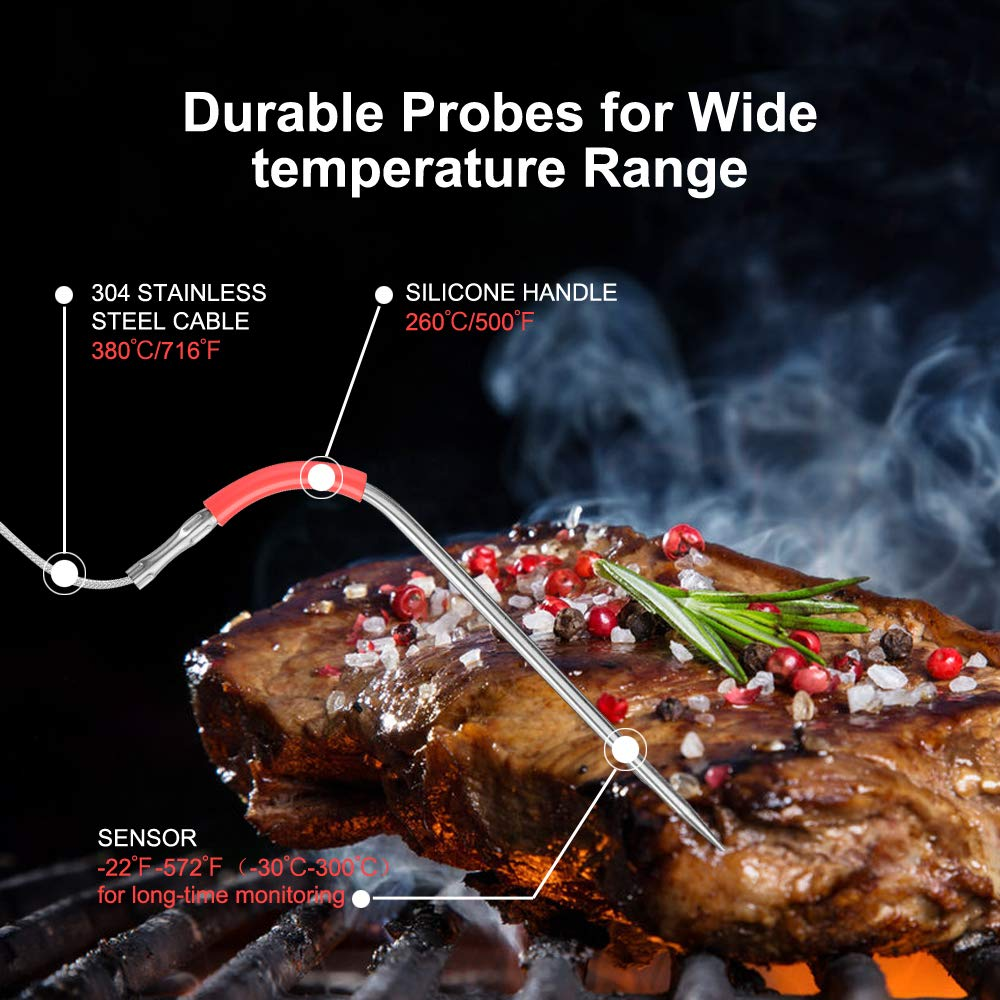 SMARTRO ST55 Wireless Digital Meat Thermometer for Oven Grill Kitchen Food Cooking Smoker BBQ with 3 Probes by SMARTRO (Image #5)