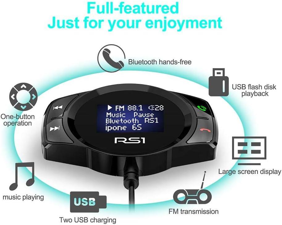 Starnearby RS1/Bluetooth Transmisor FM Manos Libres Auto Wireless Adaptador de Radio Pantalla LED Reproductor MP3/con 2/USB Cargador para Bluetooth Dispositivo