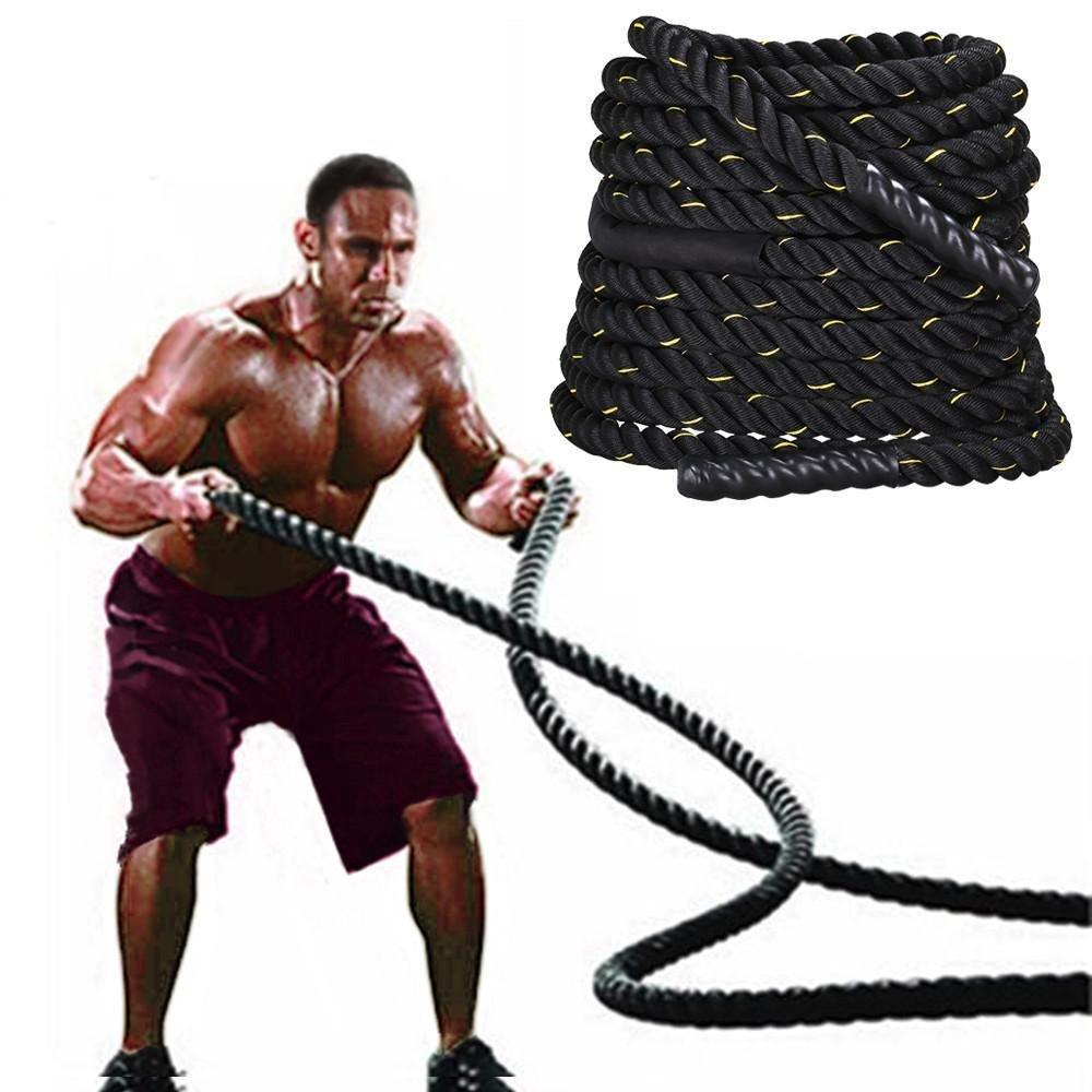 Yaheetech Training 1.5'' Polyester 50' Battle Rope Exercise Workout Strength Undulation Exercise Ropes Training Ropes w/magic tape sleeve,Black by Yaheetech (Image #2)
