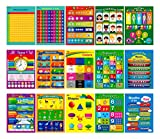 15 Laminated Educational Posters, Alphabet, Shapes, Colors, Numbers 1-100, Multiplication Table, Days of The Week, Months of The Year,Money,Emotions,Human Body,Time,Opposites,Seasons,Weather,Animals