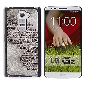 PC/Aluminum Funda Carcasa protectora para LG G2 D800 D802 D802TA D803 VS980 LS980 Love Heartbrake God Peace Passion Quote / JUSTGO PHONE PROTECTOR