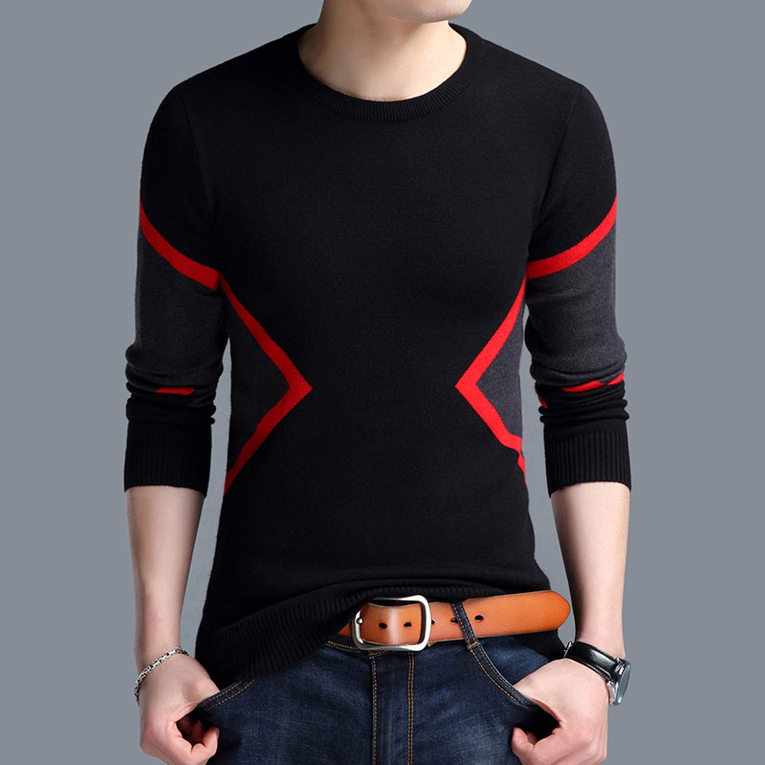 floral hoop 2019 Winter Fashion Mens Sweaters Breathable Slim Pullover Contrast Color Knitted Sweater Men