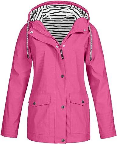 Women Rain Jacket Outdoor Plus Size Outwear Waterproof Hooded Raincoat Windproof