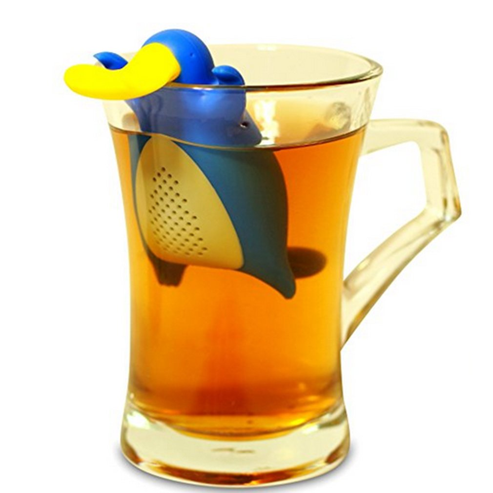 ODN Duckbill Tea Strainer Silicone Novelty Tea Infusers, Blue