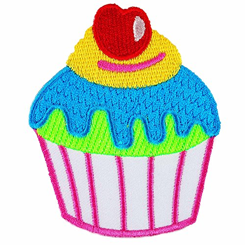 Blue Lava Cupcake Cherry Embroidered Iron on (Lava Cupcakes)