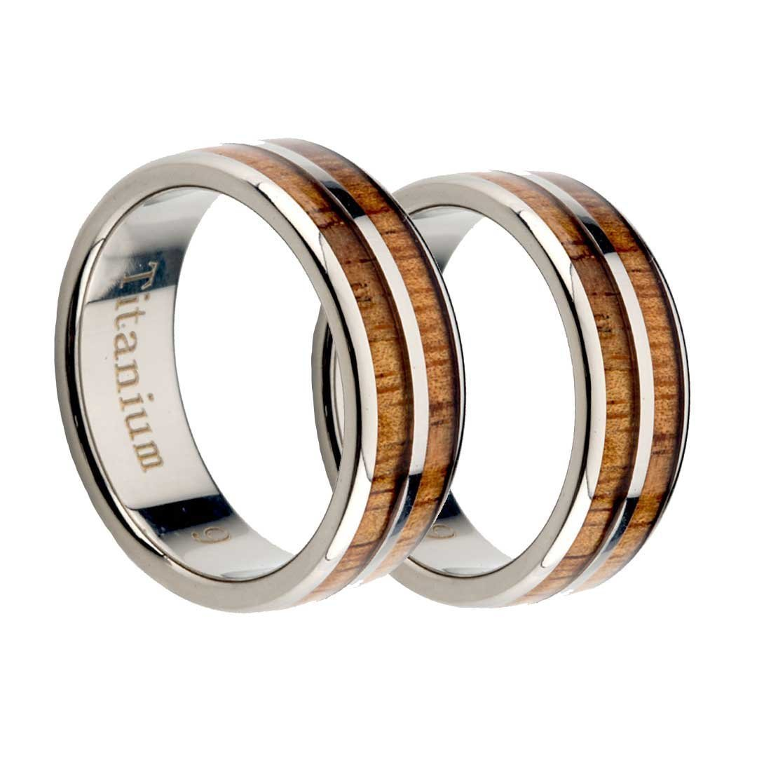 Titanium Wedding Rings set Natural Wood