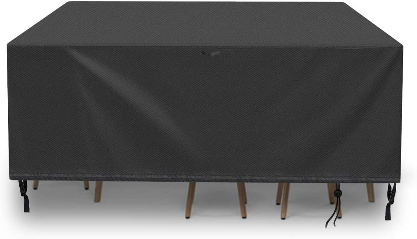 POMER Rectangle Patio Table Cover,96x63x39inch Waterproof and UV-Resistant Furniture Set Covers for Outdoor Table and Chair, Sofa Sectional