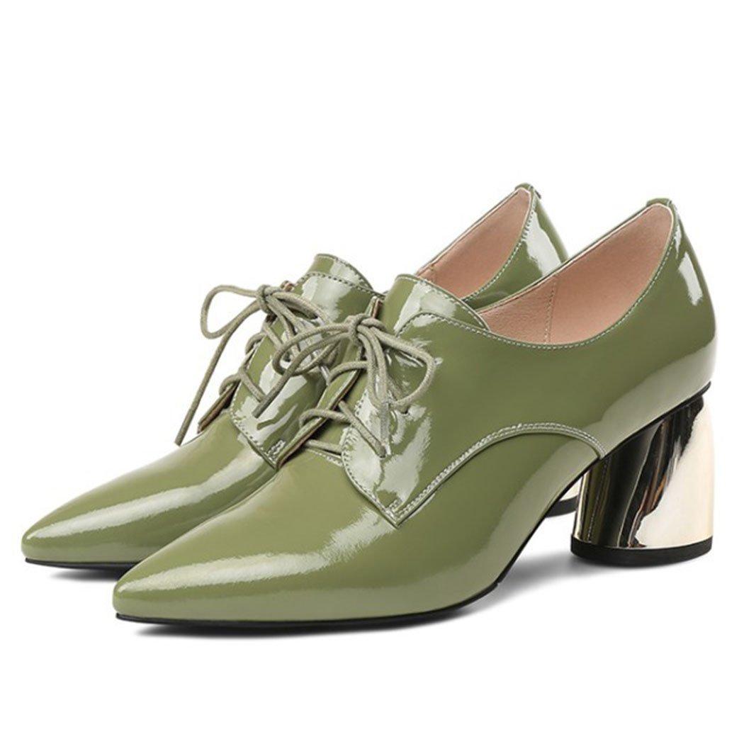 GAOLIXIA Damenschuhe Spitz High High High Heels Pumps Pumps Schnürschuhe High Heels Fashion Retro Formale Business Casual Arbeitsschuhe Schwarz Grün Größe d2048c