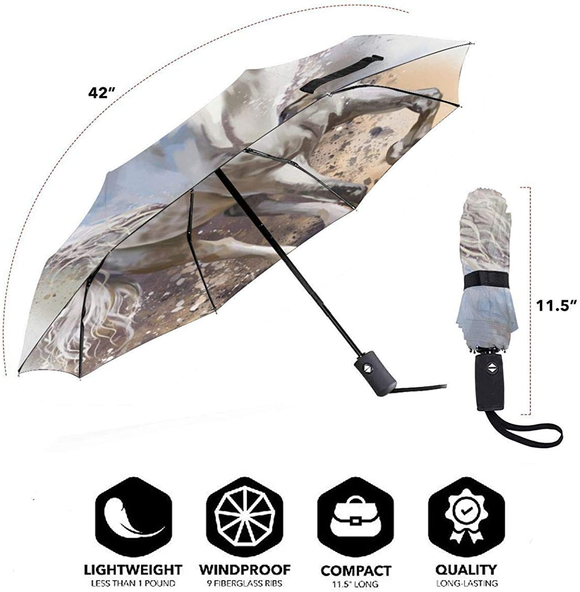 White Horse Runs Watercolor Painting Compact Travel Umbrella Windproof Reinforced Canopy 8 Ribs Umbrella Auto Open And Close Button Personalized