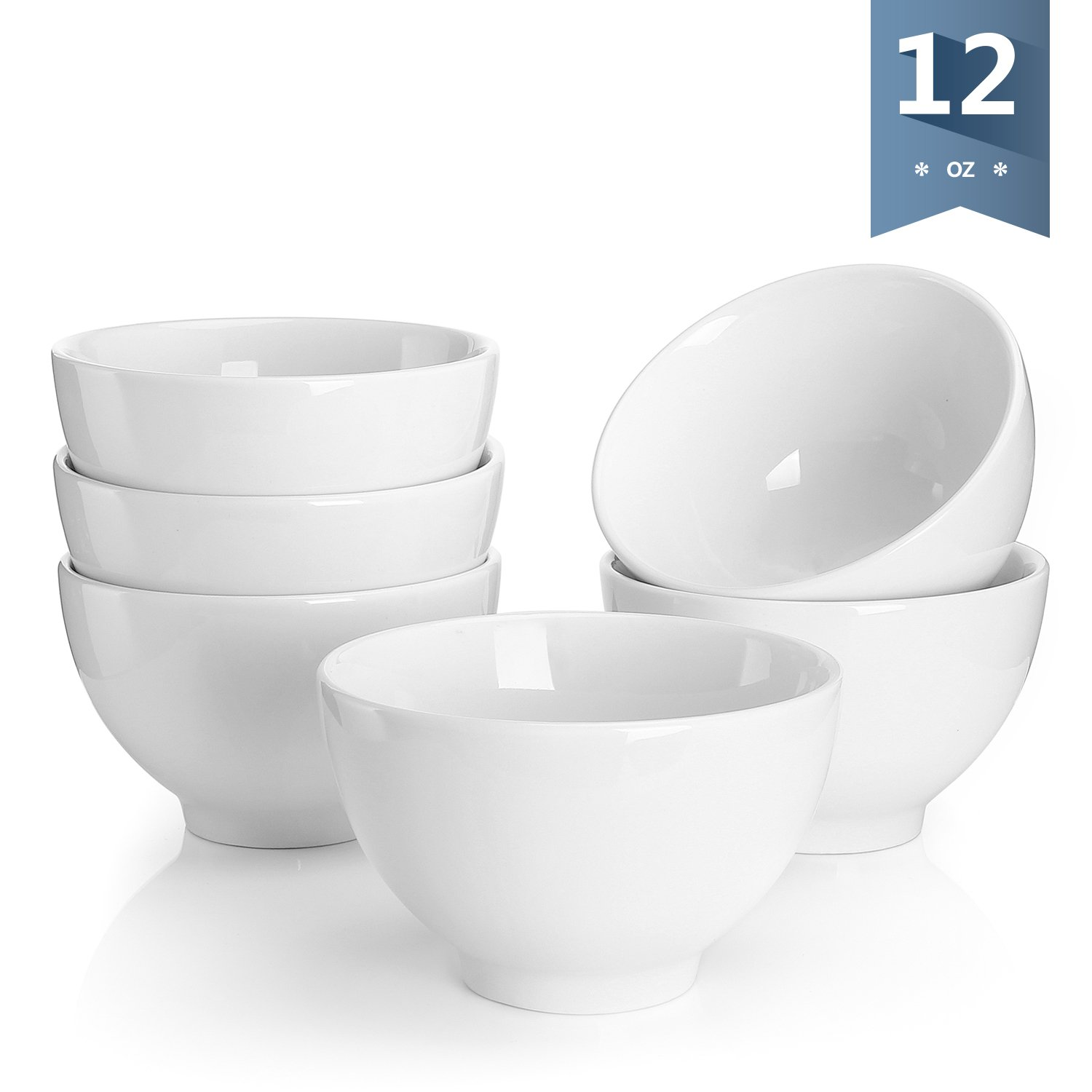 Sweese 1307 Porcelain Small Asian Bowls - 12 Ounce for Rice, Snack, Salad, Ice Cream - Set of 6, White