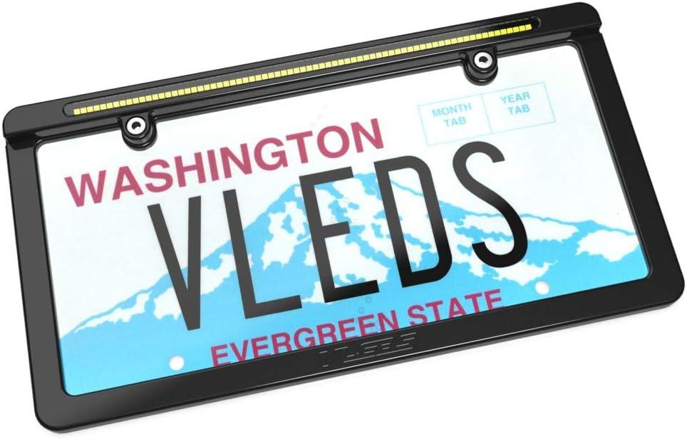 VLEDS 1800lm 5500K White LP-Reverse License Plate Backup Light System Black Satin Finish 72 LED w//Frame
