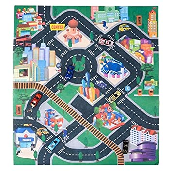 32u201d X 28u201d Race Car Rug Play Carpet With 6 Toy Cars Set U2013