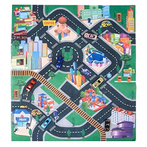 Kicko 32 X 28 Inch Race Car Rug Play Carpet with 6 Toy Cars Set - Scene of Downtown City Rug, Foam Mat, Assorted Designs and Colors 1:64 Scale Cars - for Kids Toy, Gift, Prize