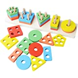 Revanak Wooden Educational Preschool Toddler Toys for 1 2 3 4 5 year old Girls Boys Kid Shape Color Sorter Recognition Toys Geometric Board Stacking Blocks Puzzle Children Baby NON-TOXIC Toy (14Inch)