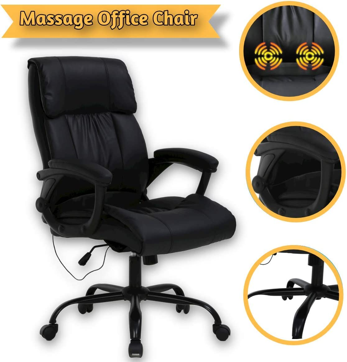Massage Office Chair 250lbs Ergonomic High Back Pu Leather Rolling Swivel Executive Computer Desk Chair With Lumbar Support Headrest Armrest For Study Home Meeting Room Home Kitchen Home Office Furniture Fcteutonia05 De