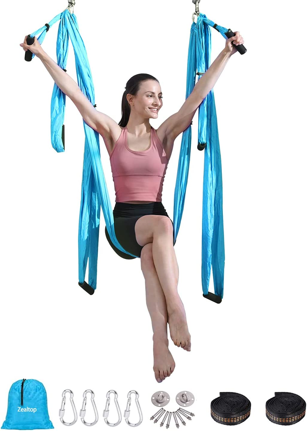 Aerial Yoga Flying Yoga Swing Set Yoga Hammock Trapeze Sling Inversion Tool for Gym Home Fitness (with Ceiling Anchors and 2 Extensions Straps) Blue