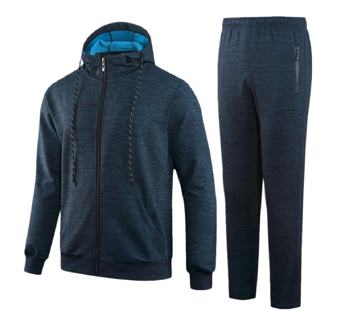 4db5f2b6277 blueee Tryist Men's Loose Full-Zip Hoode Sweatshirt Parka Parka Parka  Jackets Sweatsuit Set blueee M c90af5