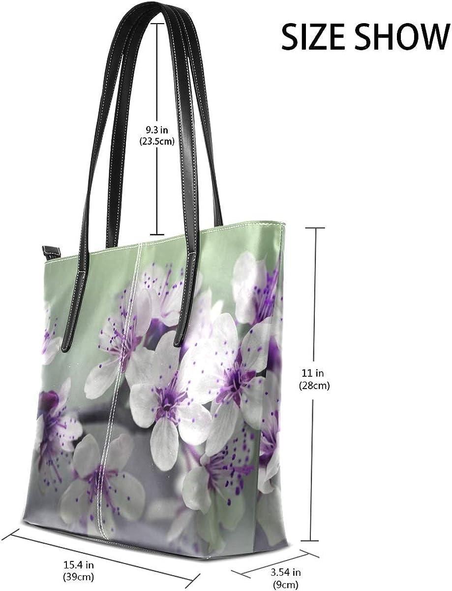 Womans Leather Tote Bag Purple Flower Soft Capacity Shoulder Handbag