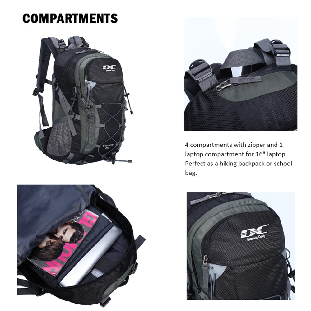 b145df45c053 40L Backpack Diamond Candy Outdoor Hiking Climbing Backpack Daypacks  Waterproof Mountaineering Bag 40L Unisex High-capacity Travel Bag   Amazon.co.uk  ...