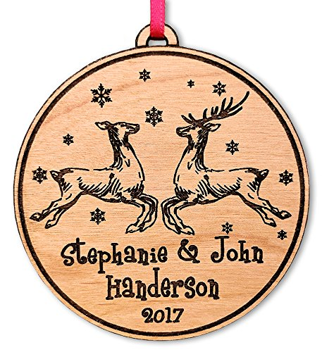 Newlywed Christmas Ornament Lovebirds Personalized Heart Tree Trunk Design Mr Mrs Wedding Date Name Engraved Couples Our First for Him Her Engagement Together (Reindeer)]()