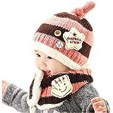 HMT 【エイチエムティー】ニット帽子&マフラー 2点セット耳まであったかキャップ ベビー キッズ 子供用 ニットキャップかわいい 赤ちゃんニットキャップ帽誕生日 出産祝い 記念写真の衣装にベビー 防寒帽子 選べる5色 (ピンク+コーヒー色)