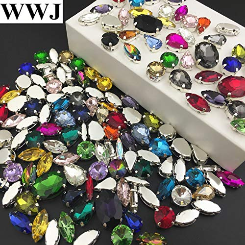 (Calvas 100pcs Mix Colors Sizes Shapes Sew On Stones Sewing Glass Crystal Beads with Silver-Claw Setting for Jewelry,Dress Decoration - (Item Diameter: Mix 100pcs))