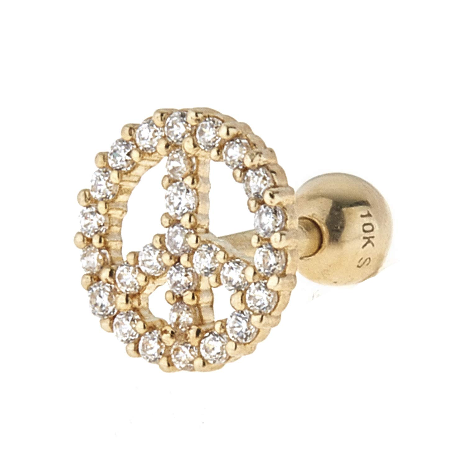 Zahaav Jewelry 10kt Solid Yellow Gold Peace Symbol Design Cartilage Earring with CZ AMU1031-TY