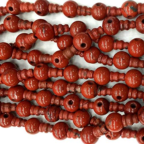 - GemAbyss Beads Gemstone 1 Strands Natural Red Jasper Pagoda Tee Three Links Buddha Head Tibet Guru Barrel Big Hole Beads Size: 10mm+6x8mm(10 Sets/lot) 04219 Code-MVG-22914