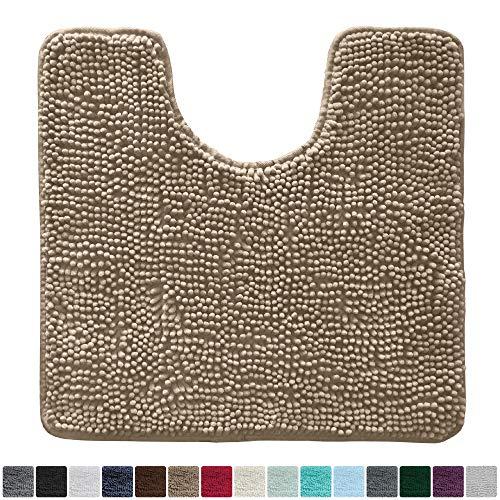 Gorilla Grip Original Shaggy Chenille Oval U-Shape Contoured Mat for Base of Toilet, 22.5x19.5 Size, Machine Wash and Dry, Soft Plush Absorbent Contour Carpet Mats for Bathroom Toilets (Beige) (Bathroom Round Windows)