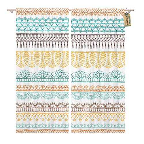 Golee Window Curtain Border Crochet Ethnic Pattern Knitted Lacy on Boundless Contour Home Decor Rod Pocket Drapes 2 Panels Curtain 104 x 96 inches
