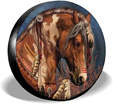 SUV and Many Vehicle 14 15 16 17 Spare Tire Covers Horses Waterproof Dust-Proof Sun Protectors Universal Wheel Cover Fit for Jeep,Trailer RV