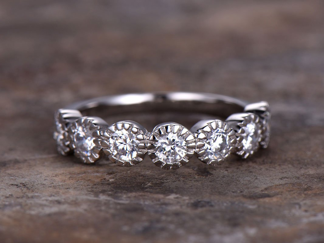 CZ wedding Anniversary  Eternity Art Deco Stacking band 925 Sterling Silver