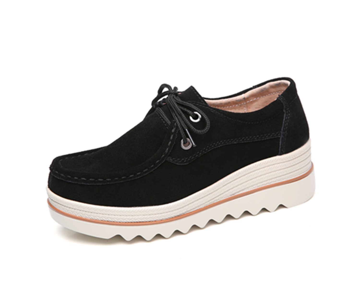 Dhiuow Platform Shoes Women Slip on Loafers Suede Wedge Shoes Comfortable Sneakers for Ladies B07BXRQRMT 5.5 M US|Black#2