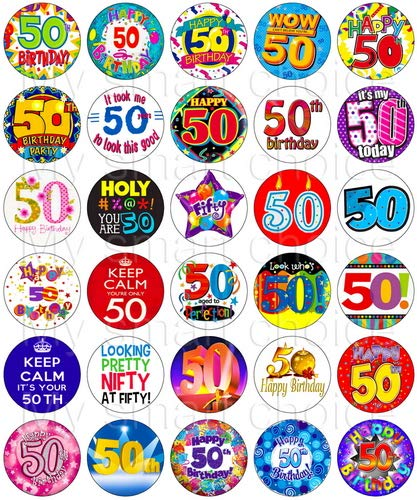 30 X Edible Cupcake Toppers 50th Birthday Party Collection Of Cake Decorations