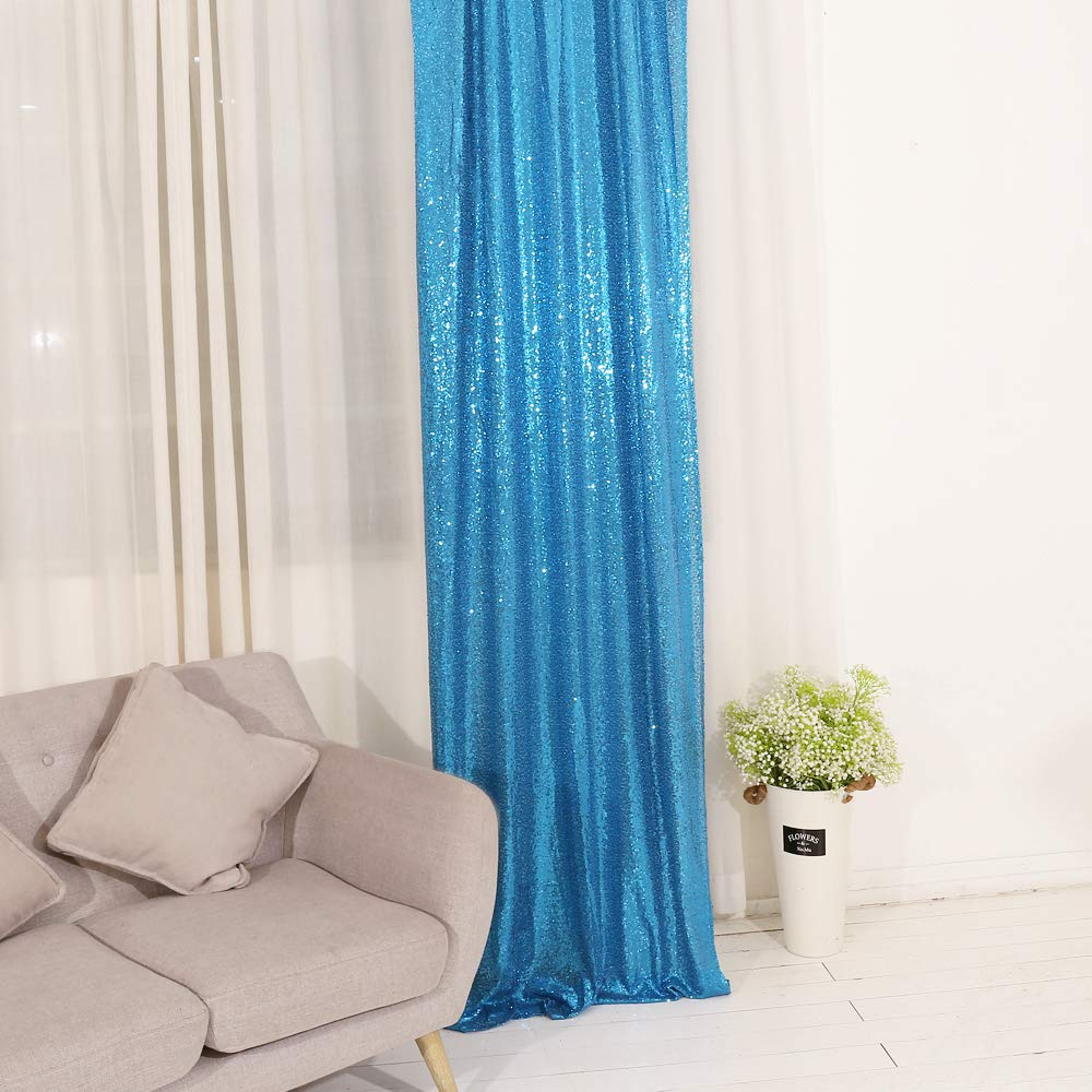 TRLYC Sequin Curtains Backdrops Glitter Blue Backdrop 2 Panels 2FTx8FT