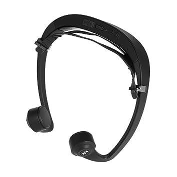 DANDANJIE Auricular Bone Conduction Bluetooth Deportes Auriculares con Micrófono, Negro, Al Aire Libre Bluetooth 4.1 Auriculares Estéreo de Reducción de ...