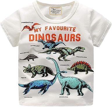 LOPILY Camiseta De Manga Corta con Estampado Ropa para NiñOs De Dinosaurios De Dibujos Animados para NiñOs Blusa: Amazon.es: Ropa y accesorios