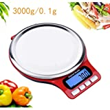 Digital Food Scale and Multifunction Kitchen Weight Scale, High-precision stainless steel Jewel scales with 7 units of measurement, Accurate weight: 1g/0.04 ounces to 6.6 lbs (Not Included Batteries)