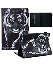 Jorisa Case Compatible with Huawei MediaPad M3 Lite 10,Colorful Painting Pattern Leather Wallet Stand Cover,Slim Flip Card Holder Magnetic Closure Protective Cover,Black Tiger