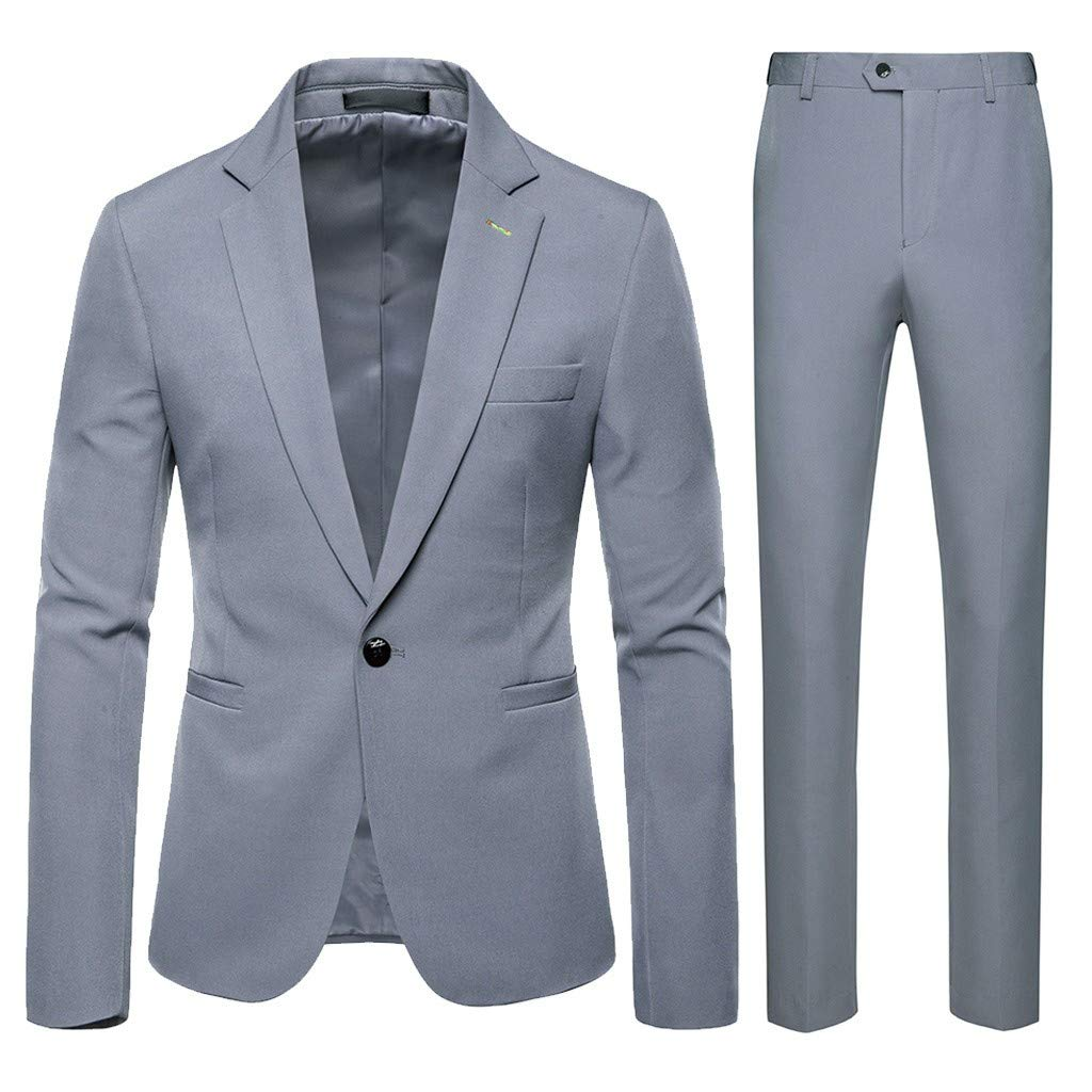F_ Gotal Men's 3 Pieces Suit Elegant Solid One Button Slim Fit Single Breasted Party Blazer Vest Pants Set Lapel Suit by F_Gotal Mens blazer