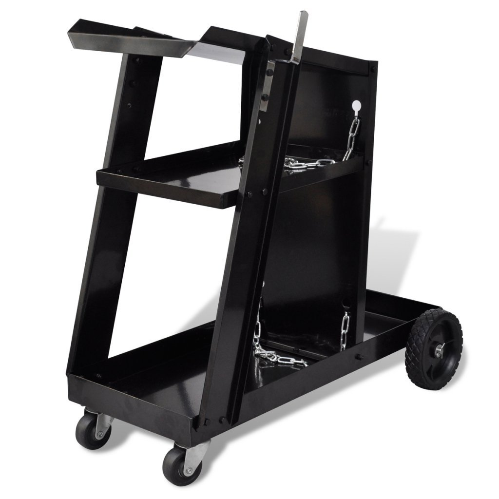 Daonanba Welding Cart Black with 3 Shelves Workshop Organizer Steel Tool