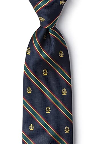 Scales Of Justice Blue Navy Blue Microfiber Tie